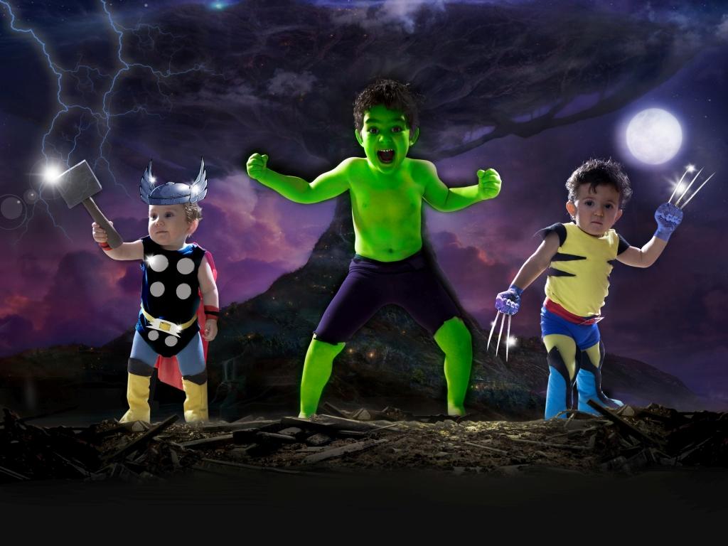 Fotografía de niños (fantasía Marvel)